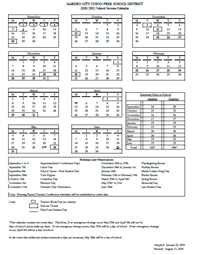 ** 2020-2021 SCHOOL SESSION CALENDAR **
